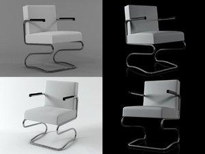 3D jindrich halabala chair model