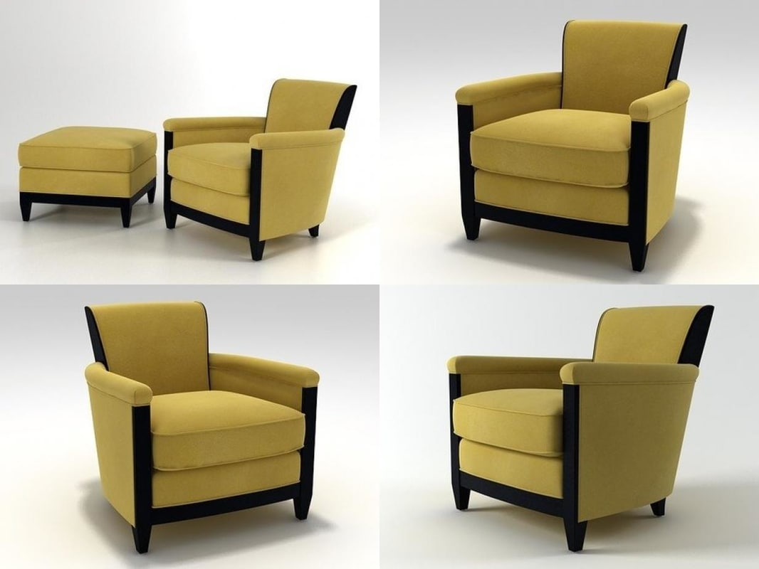 3D model conversation club chair