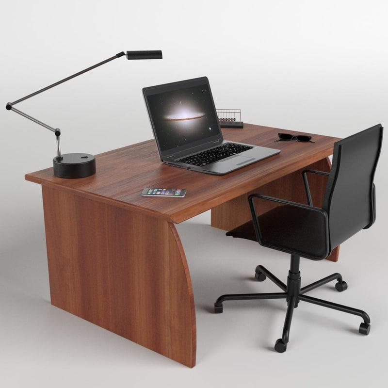 3D model office desk chair laptop
