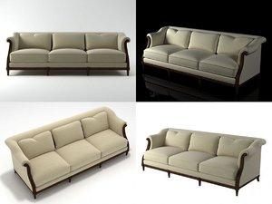 3D exposed wood sofa
