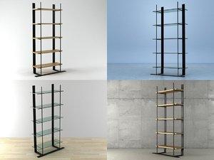 metal wood shelf 3D model