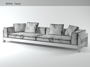 3D model alison black sofa 320