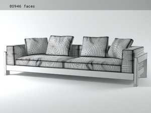 alison black sofa 280 3D model