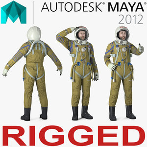 3D ussr astronaut wearing space suit