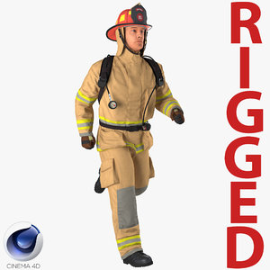 firefighter rigged 3D model
