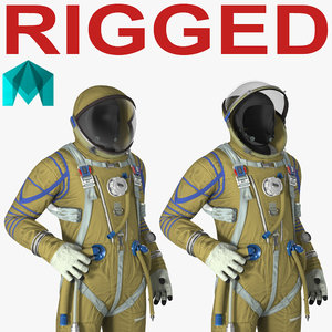 strizh space suit rigged 3D model