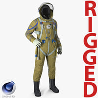 Strizh Space Suit Rigged for Cinema 4D