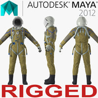 Space Suit Strizh with SK-1 Helmet Rigged for Maya