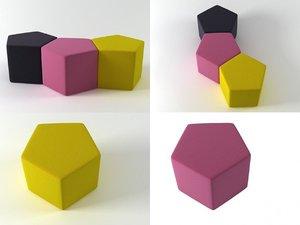 3D pentagon pouf