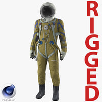 Space Suit Strizh with SK-1 Helmet Rigged for Cinema 4D
