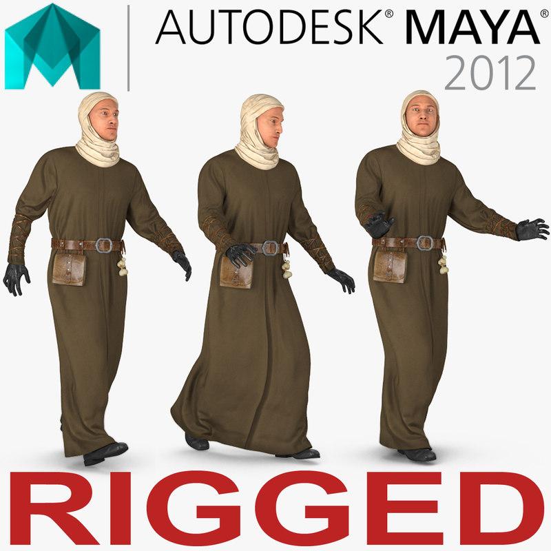 medieval man rigged 3D model