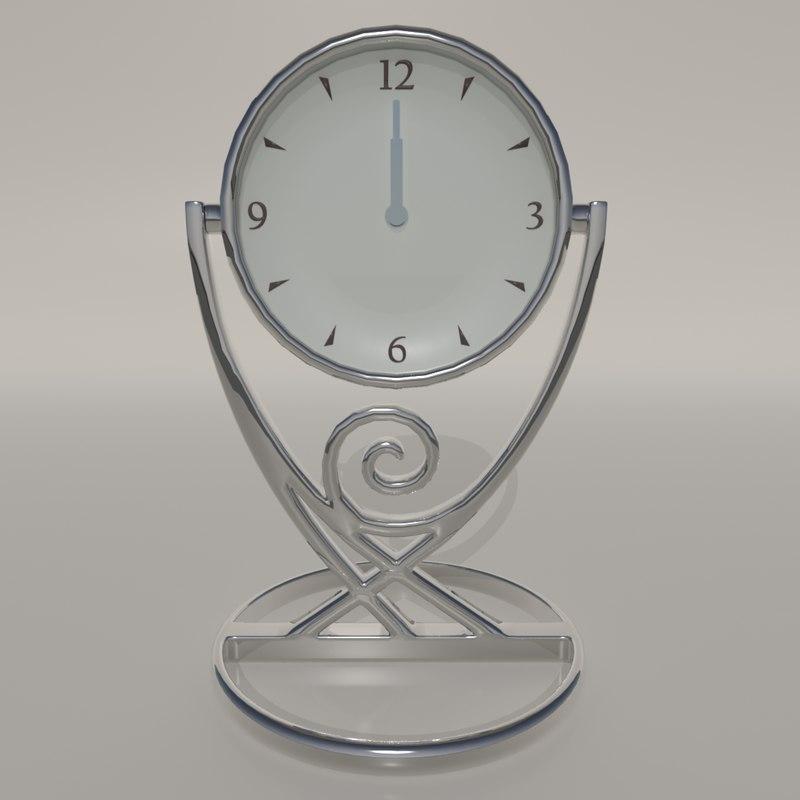 chrome bedside table clock 3D model