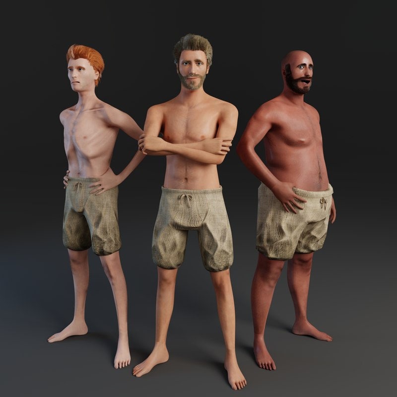 rigged male human 3D model
