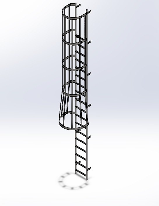 solidworks ladder safety cage 3D
