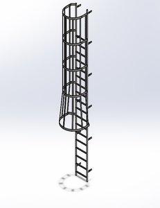 solidworks ladder safety cage 3D