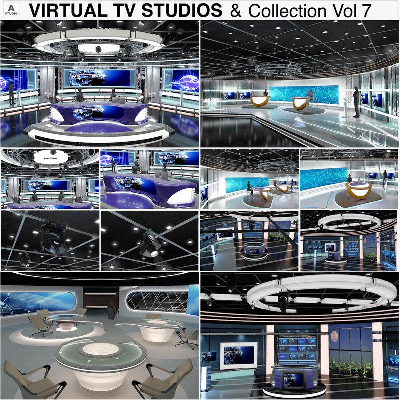 3D virtual tv studio news sets