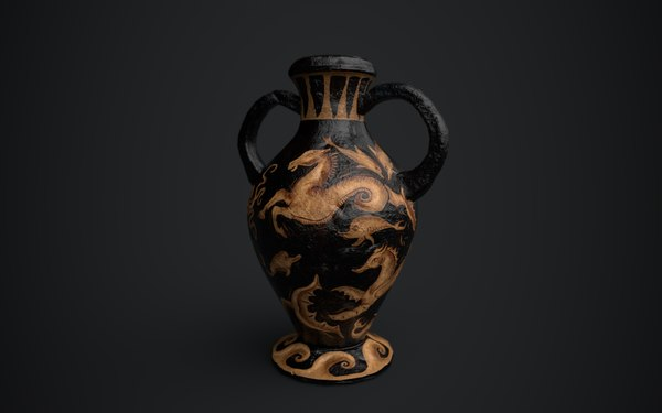 3D etruscan red figure amphora model