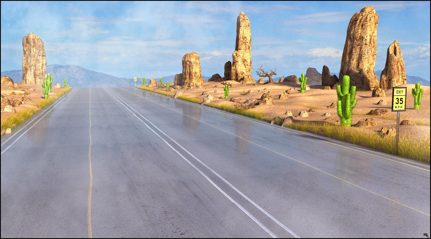 road cartoon toon 3D