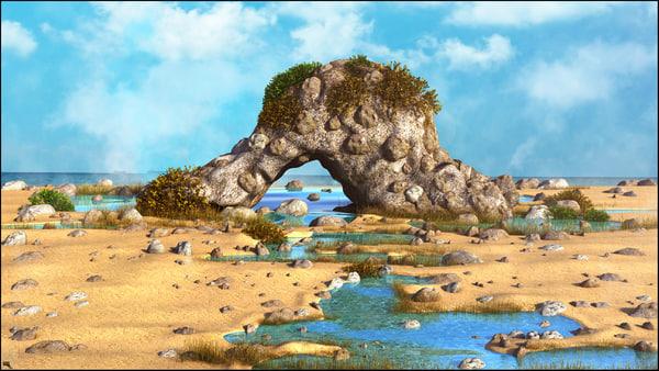 3D rock beach