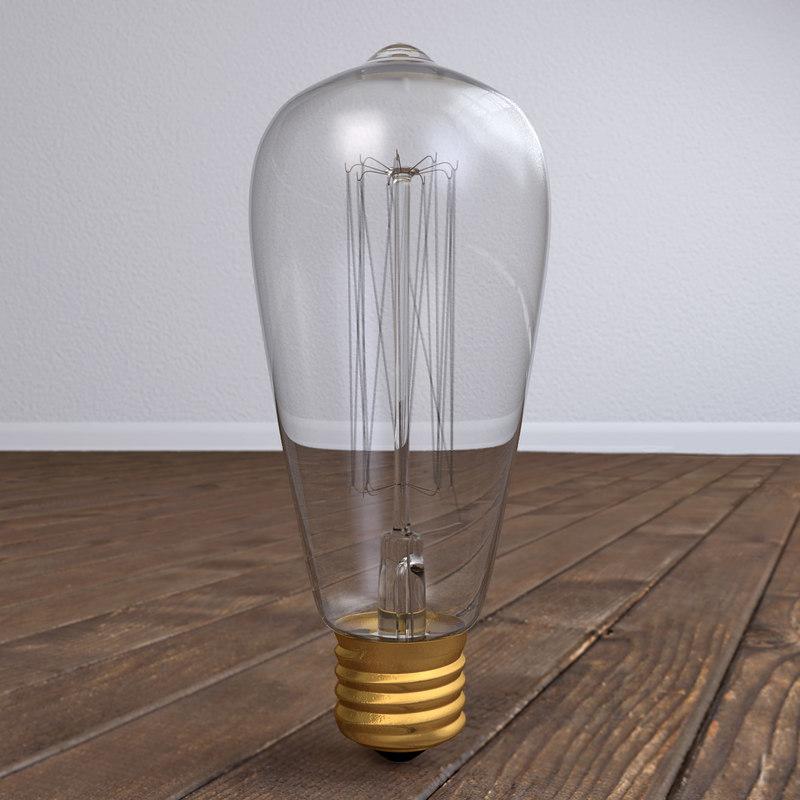 3D edison lightbulb model