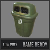 3D wall trash bin pbr