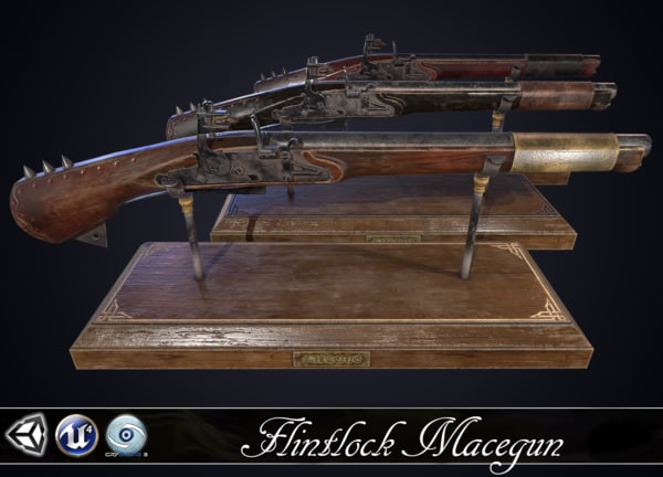 macegun - flintlock pistol 3D model