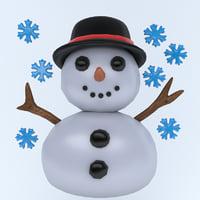 icon snow snowman 3D
