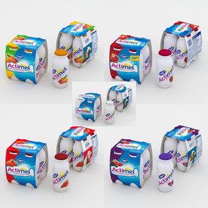 actimel 4-pack 3D