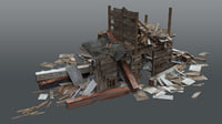 3D demolished building debris