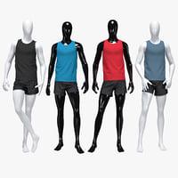 3D male running suit model