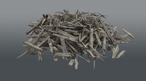 3D pile wood