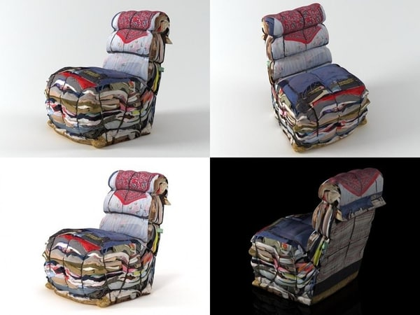 3D model rag chair