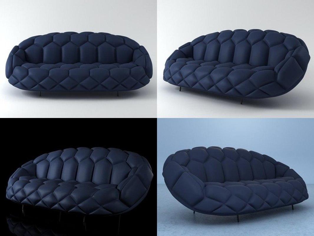 3D model quilt sofa