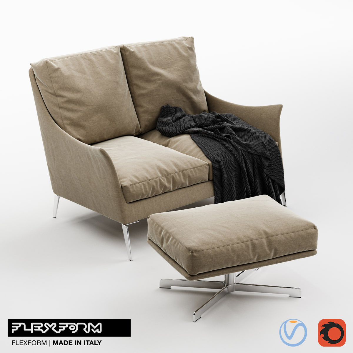 flexform boss sofa pouf 3D model