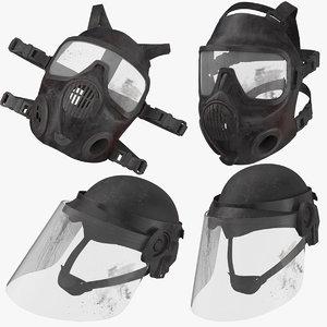 bloody police helmet 3D model