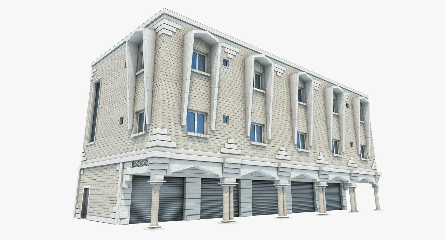 3D model store building u