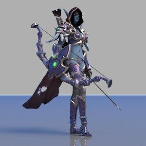 3D sylvanas windrunner rig lady