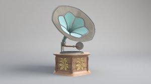 gramaphone old antique 3D model