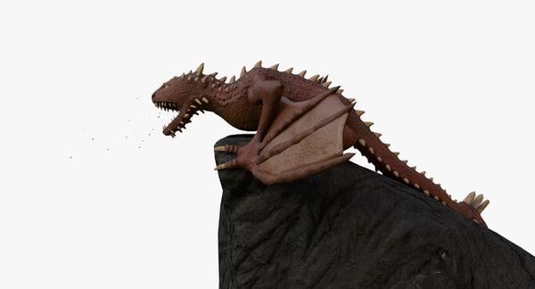 3D green red dragon model
