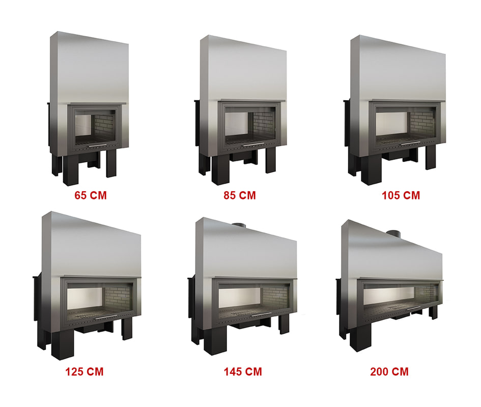 3D model fireplace 6 sizes