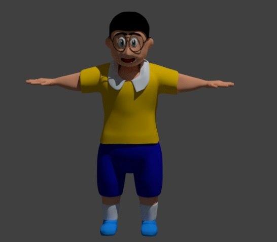 funny cartoon character walk model