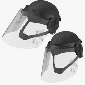 bloody police riot helmet 3D model