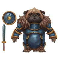 Pug Knight Hand Painted Character