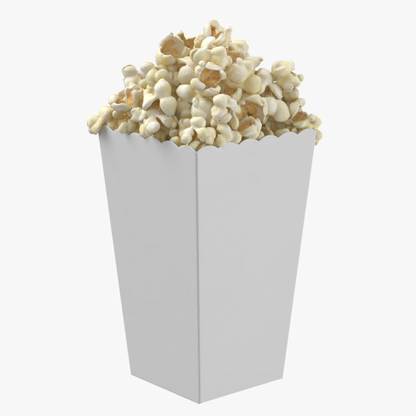 movie popcorn box standing 3D