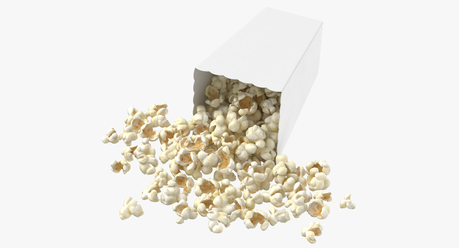 3D movie popcorn box tipped model