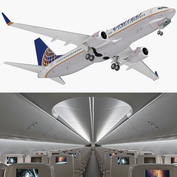 3D boeing 737-800 interior united airlines