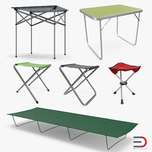 camping table chairs 3D model