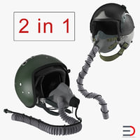 3D model jet fighter pilot helmets