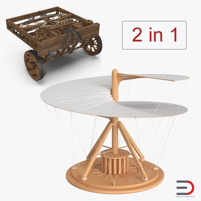 3D leonardo da vinci vehicles