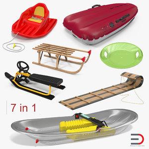 3D snow sleds 2 model